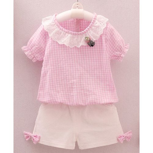 Pre Order - Awabox Checkered Half Sleeves Top With Shorts - Light Pink