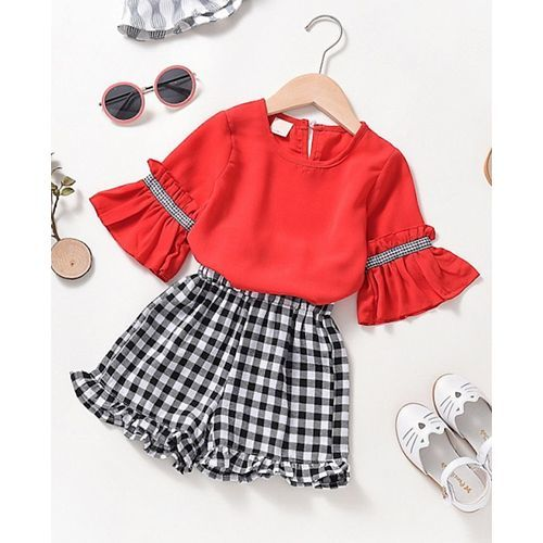 Pre Order - Awabox Three Fourth Bell Sleeves Top With Checked Shorts - Red