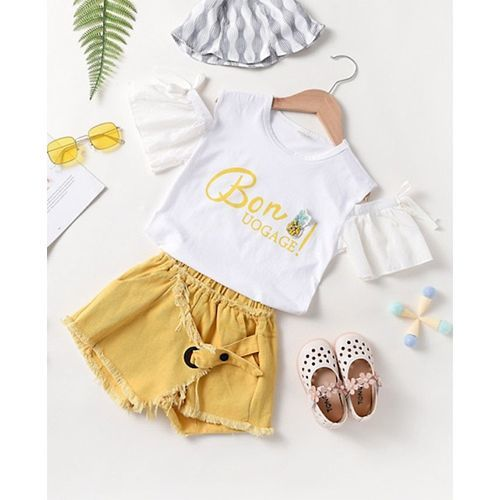 Pre Order - Awabox Half Sleeves Text Print Cold Shoulder Top With Raw Hem Shorts - Yellow