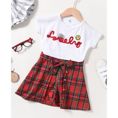Pre Order - Awabox Short Sleeves Lovely Embroidered Top With Checked Skirt - White