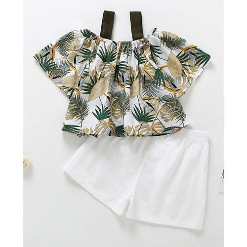 Pre Order - Awabox Leaf Printed Half Sleeves Top With Shorts - Green