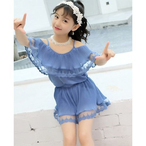Pre Order - Awabox Solid Half Sleeves Top & Shorts Set - Blue