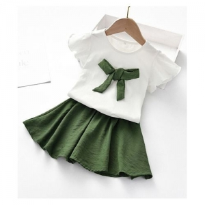 Pre Order - Awabox Bow Applique Short Sleeves Top With Skirt - Dark Green