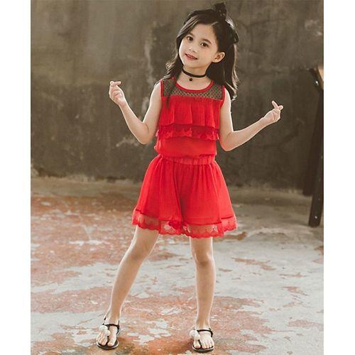Awabox Red Sleeveless Ruffled Lace Hem Top With Shorts