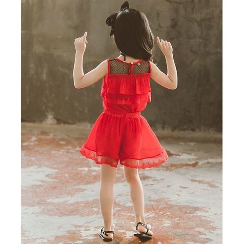 Awabox Red Sleeveless Ruffled Lace Hem Top With Shorts