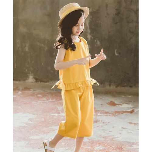 Pre Order - Awabox Sleeveless Ruffled Hem Top With Pants - Yellow