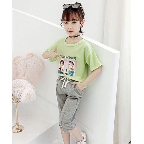 Pre Order - Awabox Half Sleeves Girl Print Tee With Bottom - Green & Grey