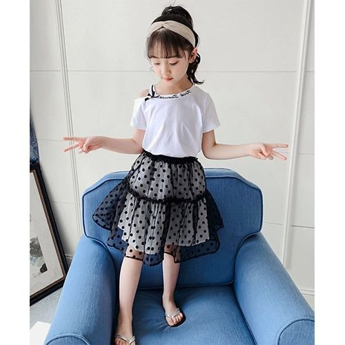 Pre Order - Awabox Half Sleeves Asymmetrical Neck Top With Polka Dot Print Skirt - White
