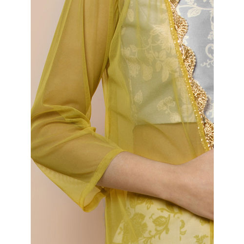 INDYA Yellow Self Design Open Front Shrug