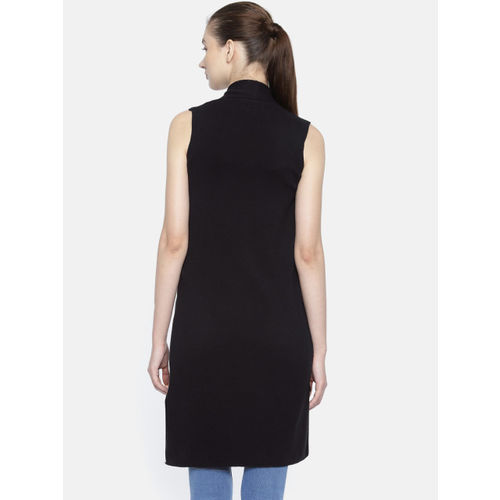 Akiva Women Black Solid Open Front Longline Shrug