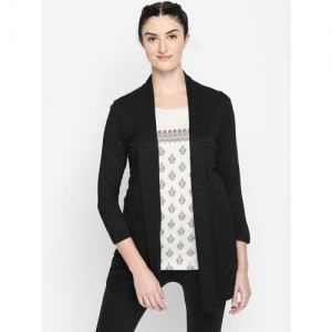 Ajile by Pantaloons Black Solid Open Front Shrug