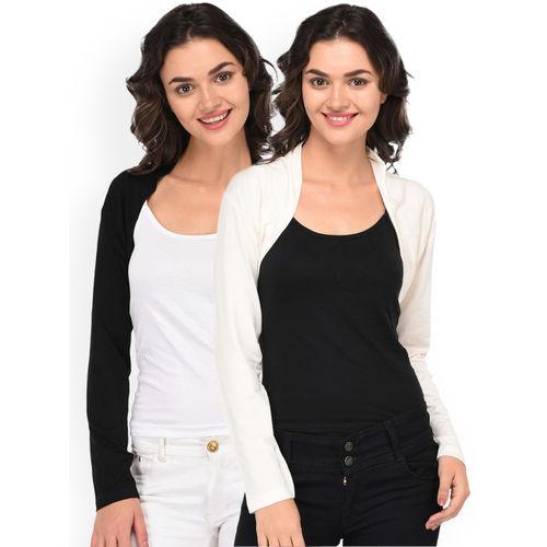 Espresso Womens Pack of 2 Black & Off White Shrugs