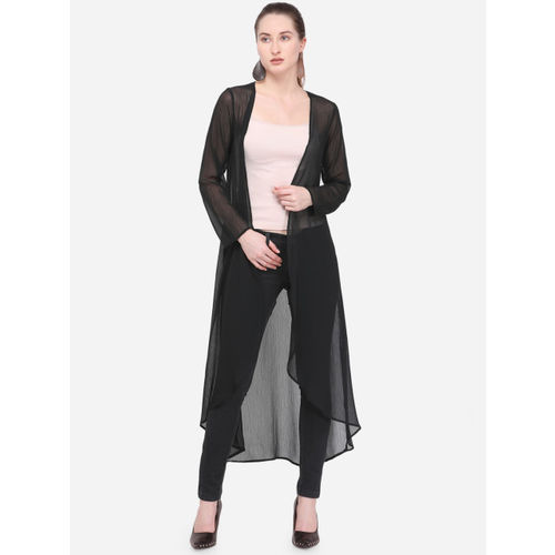 Smarty Pants Black Solid Open Front Shrug