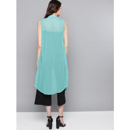 Marie Claire Blue Self Design Longline Button Shrug