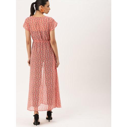DressBerry Women Pink & White Printed Tie-Up Shrug