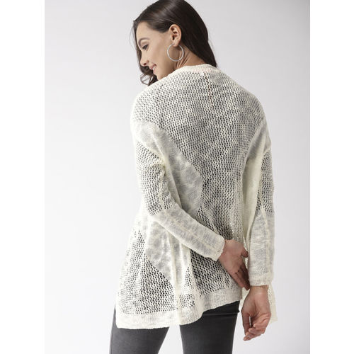 Mast & Harbour Off-White Open Knit Open Front Shrug
