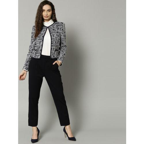 Marks & Spencer Navy Blue & White Self Design Open Front Shrug