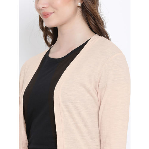 WISSTLER Peach-Coloured Solid Open Front Shrug