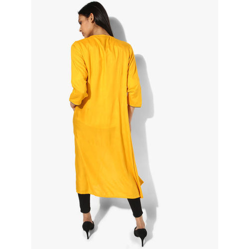 RANGMANCH BY PANTALOONS Mustard Yellow Embellished Shrug