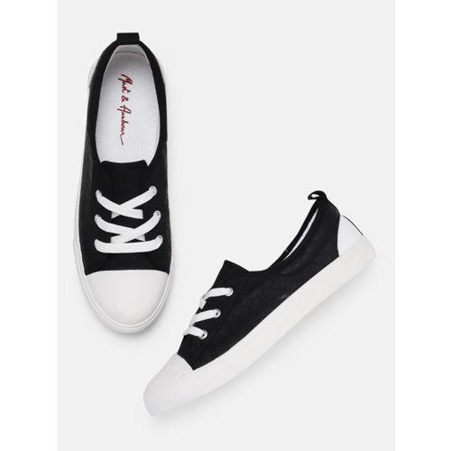 Mast & Harbour Women Black Solid Sneakers