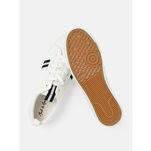 Mast & Harbour Women White Solid Sneakers