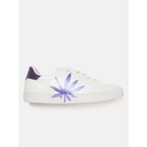 Lavie Women White & Purple Printed Sneakers