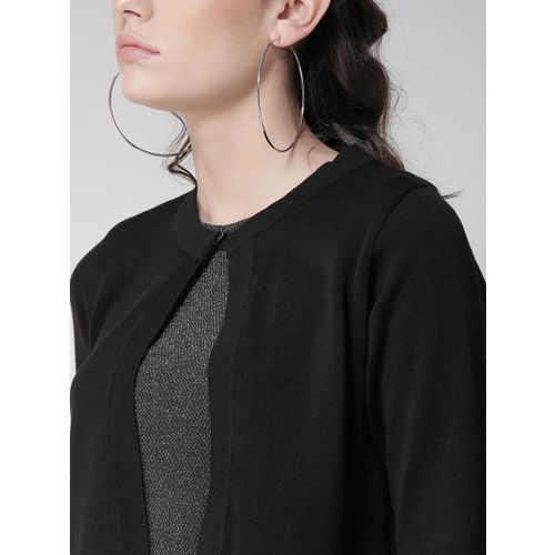 Style Quotient Black Solid Button Crop Shrug
