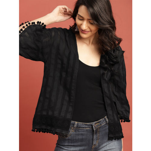 Taavi Black Woven Legacy Open-Front Shrug with Pom-Pom Detail