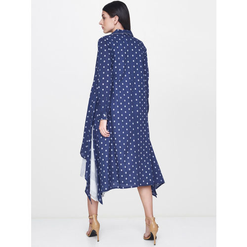 AND Navy Blue Printed Front Open Longline Shrug