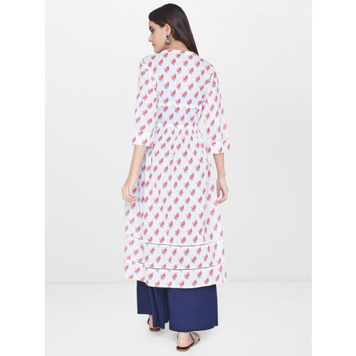 Global Desi Women White Printed Longline Shrug