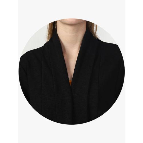 Miss Bennett Black & Black Self Design Open Front Shrug