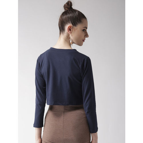 Style Quotient Navy Blue Solid Crop Button Shrug