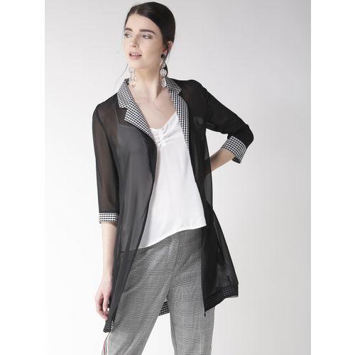 Madame Black & White Solid Sheer Lapel Shrug