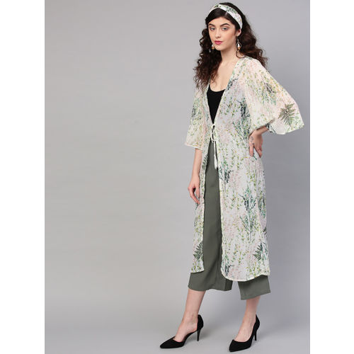 SASSAFRAS Off-White & Green Floral Print Tie-Up Shrug With Hairband
