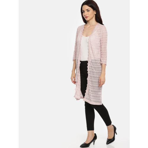 CODE by Lifestyle Mauve Self Design Open Front Longline Shrug