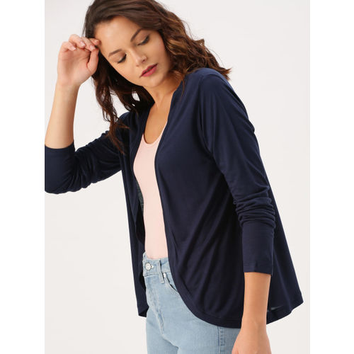 DressBerry Navy Blue Solid Open Front Shrug