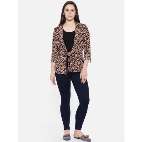 CODE by Lifestyle Beige Animal-Print Tie-Up Front Shrug
