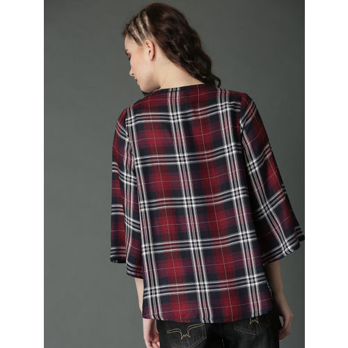 Roadster Maroon & Navy Blue Checked Open Front Shrug