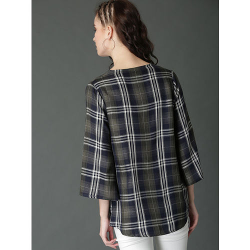Roadster Olive Green & Navy Blue Checked Open Front Shrug