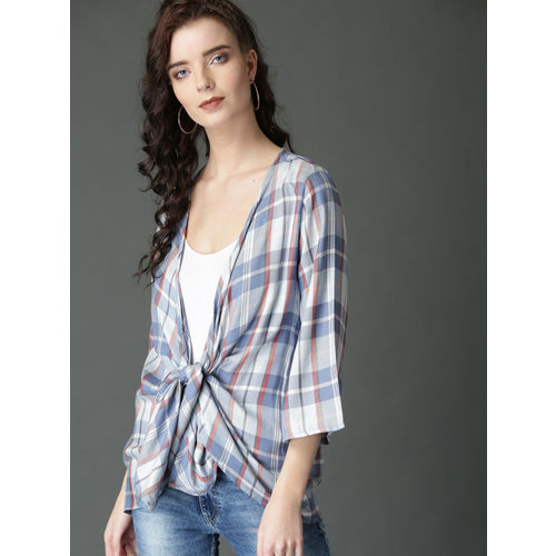 Roadster Blue & White Checked Open Front Shrug