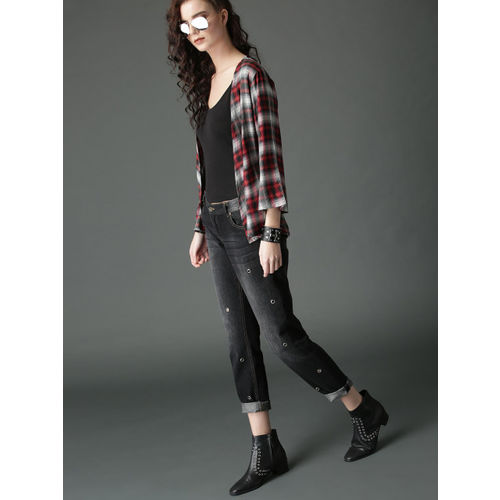 Roadster Red & Black Checked Open Front Shrug