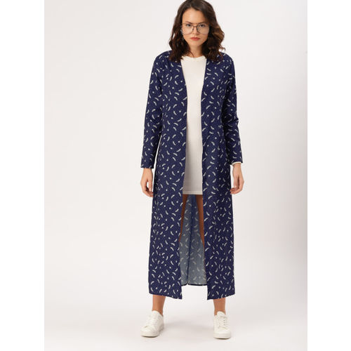 DressBerry Navy blue Printed Open Front Longline Shrug