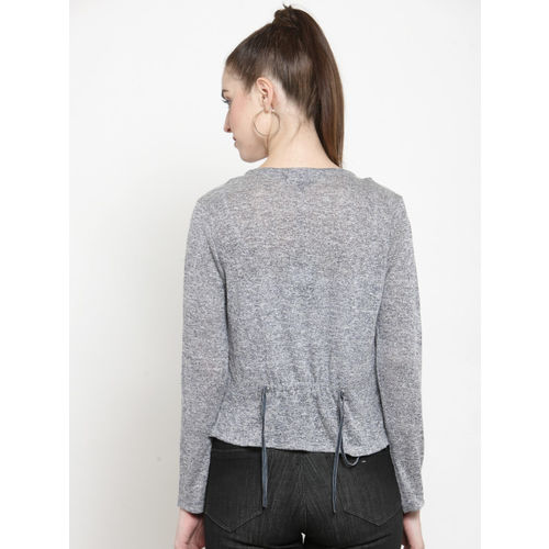 Latin Quarters Grey Solid Open Front Shrug