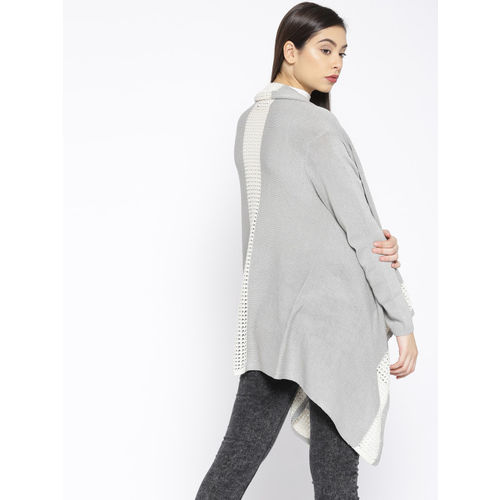 Roadster Grey & White Solid Waterfall Shrug
