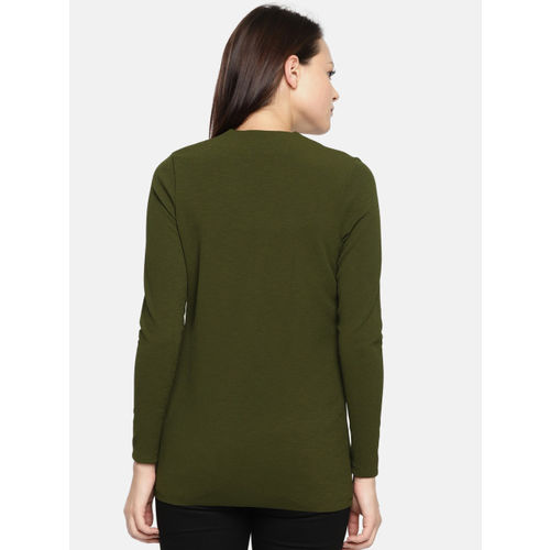 CODE by Lifestyle Olive Green Solid Tie-Up Shrug