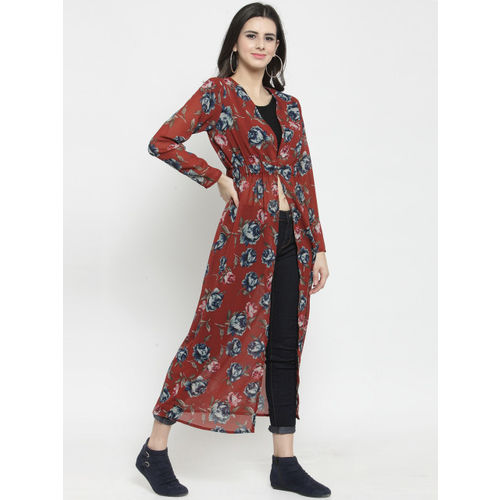 Sera Women Rust Printed Button Shrug