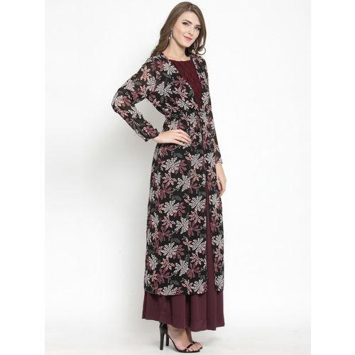 Sera Women Black Printed Button Longline Shrug