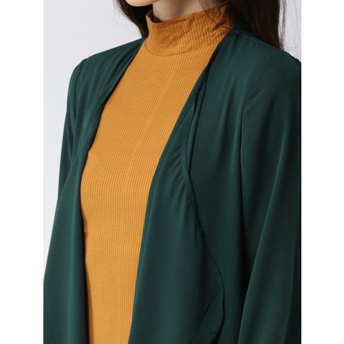 FOREVER 21 Green Solid Open Front Longline Shrug