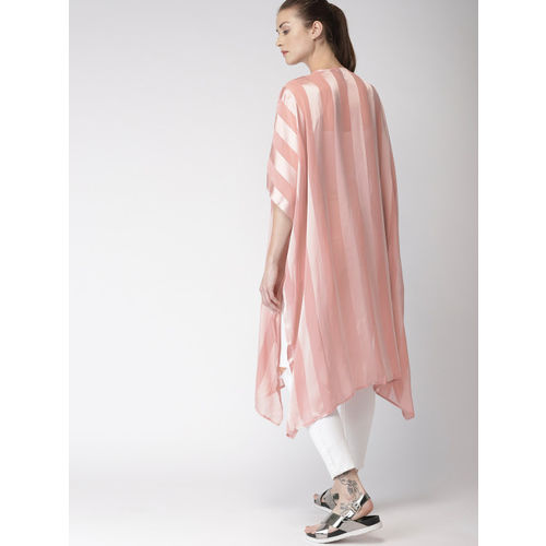 FOREVER 21 Peach-Coloured Striped Open Front Shrug