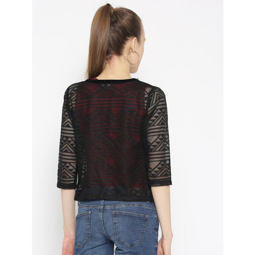 Antheaa Black Lace Open Front Shrug